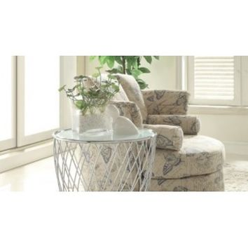 Homelegance Zara Round Glass Top End Table in Chrome