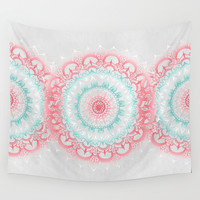 Teal & Coral Glow Medallion Wall Tapestry by Tangerine-Tane
