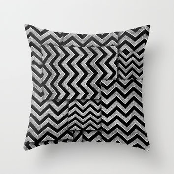 Black and silver glitz chevron.  Throw Pillow by Kristy Patterson Design