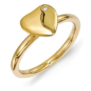14k Gold Plated Sterling Silver 8mm Heart 1pt Diamond Stackable Ring