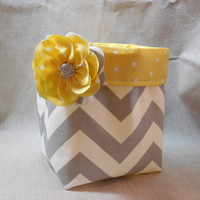 Pretty Gray and White Chevron Basket With Yellow Polka Dot Liner