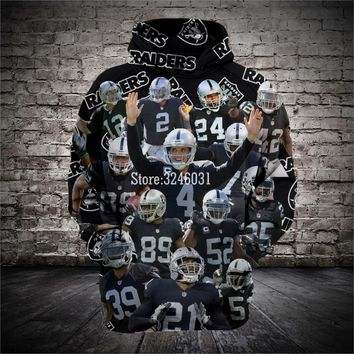 2019 Fashion Men women 3d Sweatshirts Raiders skull Hoody Hoodies With Cap Tops for Oakland fans gift 004