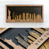 New York Wall Art Skyline in Wood Multi-Layer 3D Laser Engraved