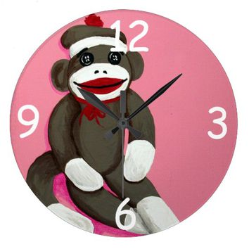 """Cute Sock Monkey"" ACRYLIC CLOCK"