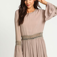 Sand Crochet Bell Pleated Tunic