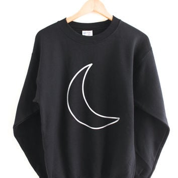 Silver Metallic Crescent Moon Black Crewneck Sweatshirt
