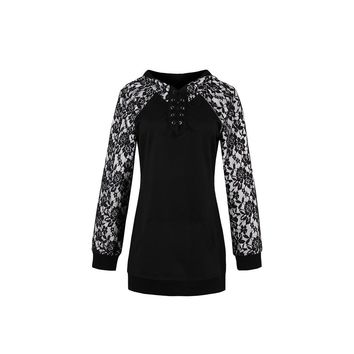 Fashion Bell Sleeve Lace Black Party Day Top