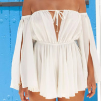 Hot selling word shoulder big V neck sexy halter shoulder open chest skirt