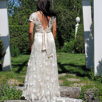 Alencon Lace wedding dress deep cut out v back by by SashCouture1