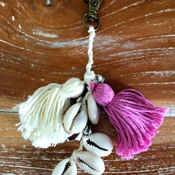BOHO Keychain with Cotton Tassels and Cowrie Shells  - Tassel Keyring, Tassel Keychain for your bag, purse, keys