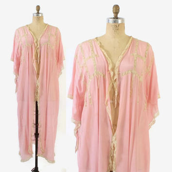 Vintage 20s Silk Robe / 1920s Sheer Bubblegum Pink Silk Crepe Lace Pointed Sleeve Dressing Gown Kimono