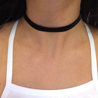 "black velvet choker plain 12"" necklace 90s grunge trendy style 3/8"" fall fashion"