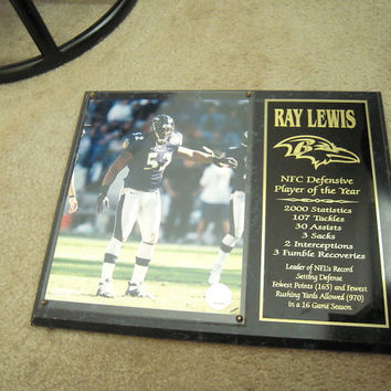 Reduced price, Baltimore Ravens Ray Lewis plaque, PE teacher gift, millennium souvenir, office,licensed plaque,man cave, ships from Florida
