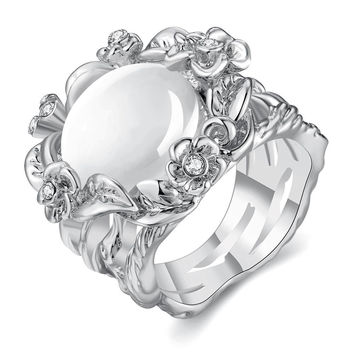 White Gold Plated Floral Spiral Ivory Onyx Ring