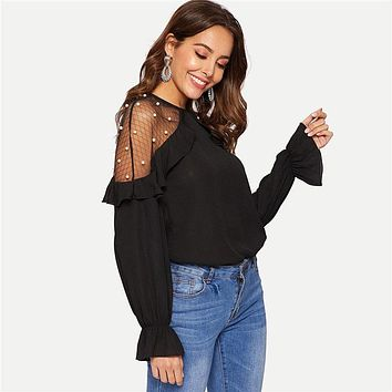 Black Mesh With Pearl Detail Ruffle Trim Top Ruffled Long Sleeve Round Neck Women Blouses Modern Lady Mesh Lace Tops