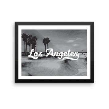 Los Angeles | TRAVEL ART PRINT | A5/A4/A3/A2 - Los Angeles Travel Poster, California, Graphic Design, Typography, Black and White