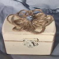 Soft Yellow Cottage Wedding Ring Bearer Pillow Box Jute Rope Flower Rhinestone
