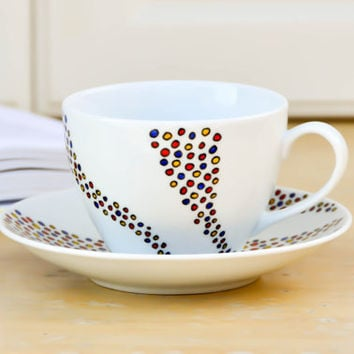 Ready to Ship Dots Tea Cup and Saucer Set - Hand Painted