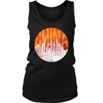 China Skyline Horizon Sunset Love Everything Chinese Women's Tank