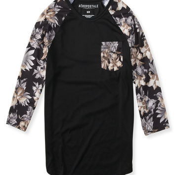 3/4 Sleeve Floral Raglan Pocket Tee