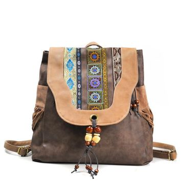 Brand New Design Women's Hasp PU Flap Backpack Chinese National Style Ethnic Embroidery Vintage Beading Tassels School Backpack