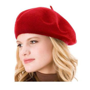 DCK4S2 others French Style Beret Hat 100% Wool Solid Color Womens Beanie Cap