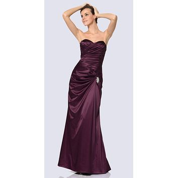 Eggplant Satin Prom Dress Pleated Bodice Strapless Sweetheart Neck
