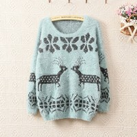 Pastel Colors Cute Loose Style Reindeer Knit Petite Sweater