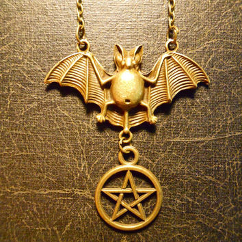 Bat Over the Pentagram Witchy Pagan Necklace