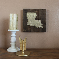 Gold glitter Louisiana on stained wood wall decor
