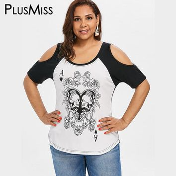 Plus Size 5XL 4XL Floral Flower Skull Poker Print T-shirts