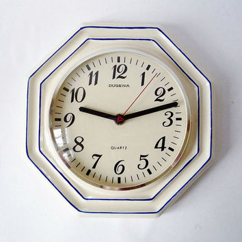 Vintage Ceramic Wall Clock from Dugena Made in Germany by oppning