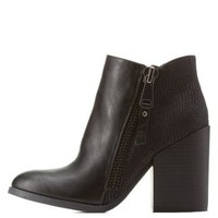 Two-Tone Chunky Heel Ankle Booties with Zipper