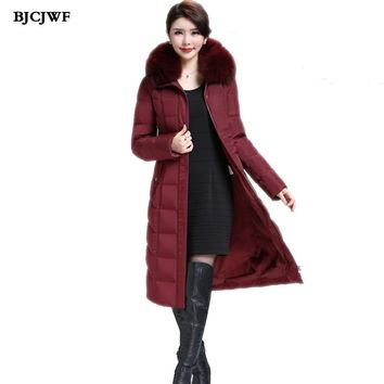 BJCJWF Womens down jackets Oversize winter warm White duck down X-Long Coat Real raccoon fur Hooded Thick Parka Outwear 6XL
