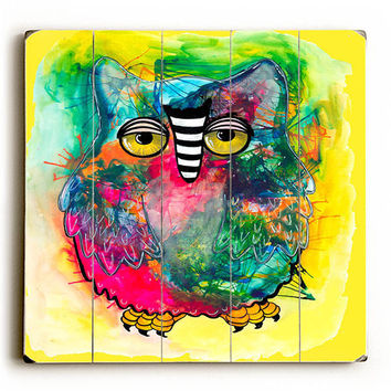 Raining Color Owl by KG Art Studio Wood Sign