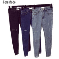 ForeMode High Waist  Skinny Jeans Female Scratch Worn Feet  Vintage Pencil Pants Women Jeans 2XL
