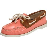 Sperry Top-Sider Women`s AO Pat Boat Shoe,Coral Patent/Tan,8 M US