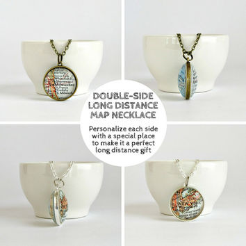Double side Map Necklace / Long Distance Necklace / Going Away Gift / Long Distance Necklace for Girlfriend / LDR Map Gifts /
