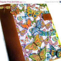 CIJ SALE 15% Off Altered Composition Book (Recycled) Hard Cover Butterfly Journal / Diary - Handmade (Butterflies/ Springtime/  Neon) Chris