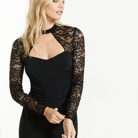 Choker Cut-Out Lace Sleeve And Yoke Blouse