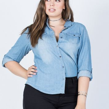 Plus Size Staple Denim Top