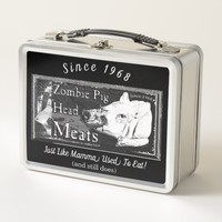 Zombie Pig Head Meats - Since 1968 Black & White Metal Lunch Box