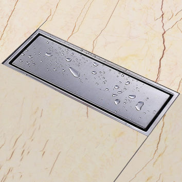 304 solid stainless steel 300 x 110mm square anti-odor floor drain bathroom invisible shower drain