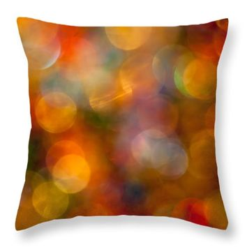 "Red and Gold Bokeh Throw Pillow for Sale by Jan Bickerton - 14"" x 14"""