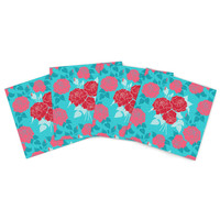"Anneline Sophia ""Summer Rose Red"" Blue Aqua Indoor/Outdoor Place Mat (Set of 4)"