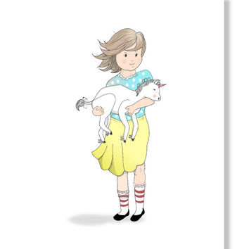 Childrens Art Print, Girl & baby Unicorn Art Print.