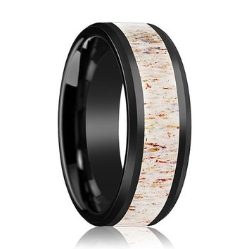 TAIL Off White Antler Inlay Black Ceramic Wedding Band