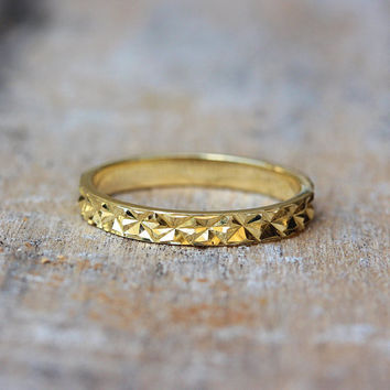 Thin Gold Unique Wedding Ring - Diamond Cut Sparkle Finish 14k gold / 18k gold