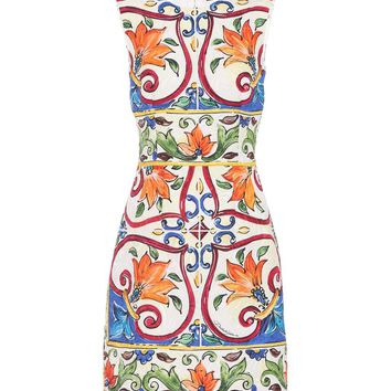 Cotton and silk-blend minidress