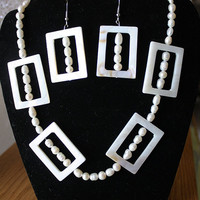 Fresh water pearls and rectangular shell beads set of necklace and earrings